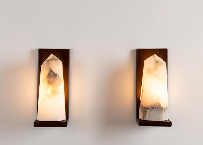 American Stephen Downes, Contemporary Alabaster Sconce, United States, 2016 For Sale