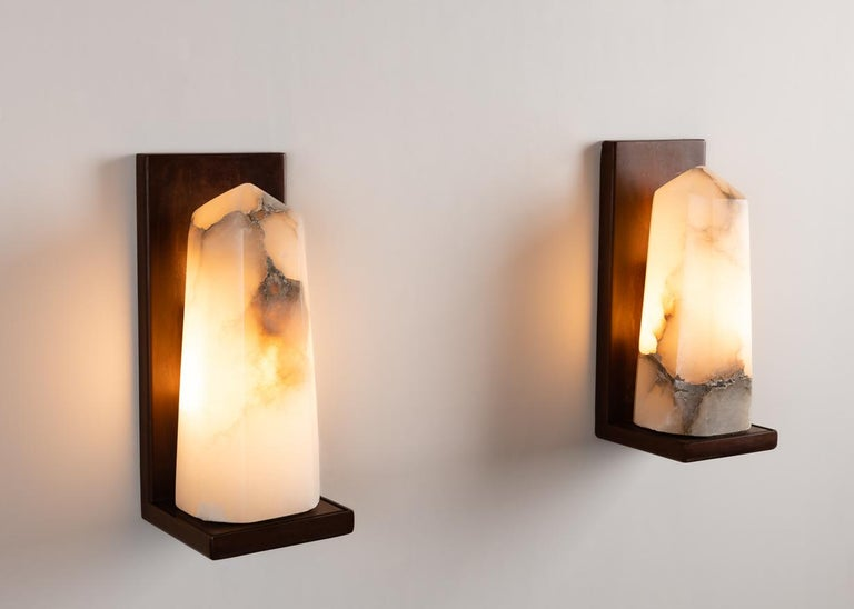 Hand-Carved Stephen Downes, Contemporary Alabaster Sconce, United States, 2016 For Sale