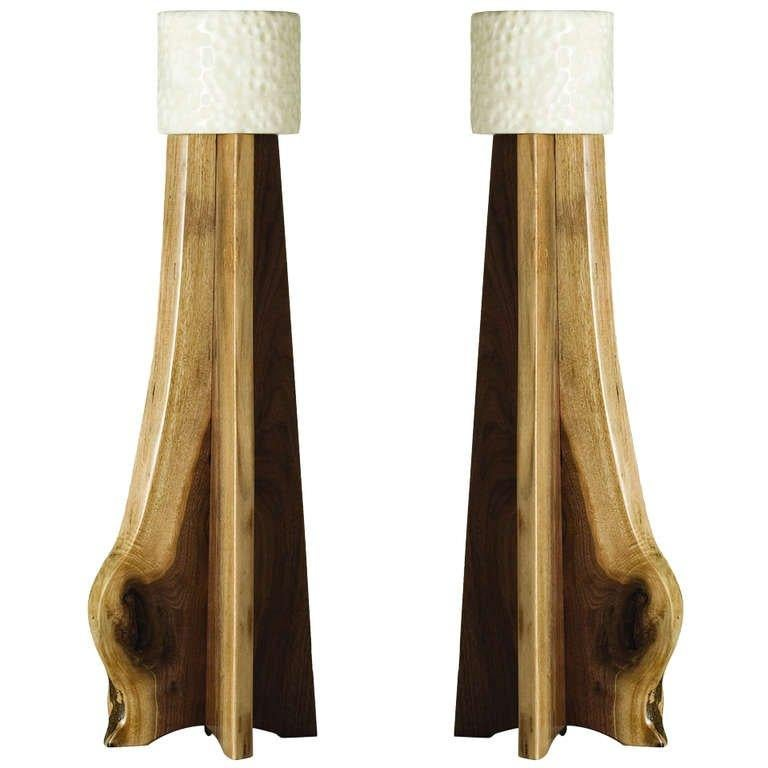 Hand-Carved Stephen Downes, Copiaco, Pair of Table Lamps, USA, 2011 For Sale