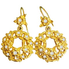Stephen Dweck, 18 Karat Yellow Gold and Diamond Dangle Earrings