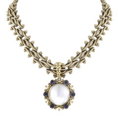 Stephen Dweck 18 Karat Yellow Gold White MOP Purple Amethyst Necklace