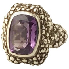 Stephen Dweck Amethyst Beaded Floral Sterling Ring