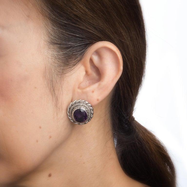 Modern Stephen Dweck Amethyst Earrings Silver Round Clip-On Estate Fine Jewelry For Sale