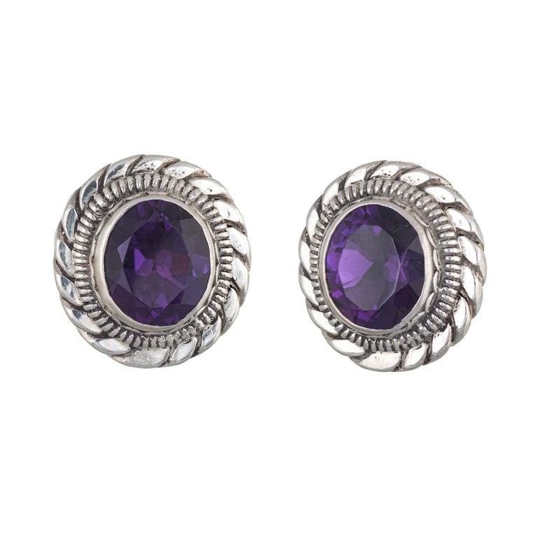 Oval Cut Stephen Dweck Amethyst Earrings Silver Round Clip-On Estate Fine Jewelry For Sale