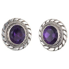 Stephen Dweck Amethyst Earrings Silver Round Clip-On Estate Fine Jewelry