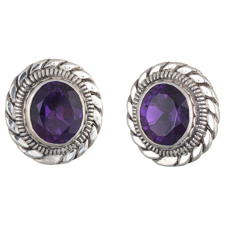 Stephen Dweck Amethyst Earrings Silver Round Clip-On Estate Fine Jewelry For Sale