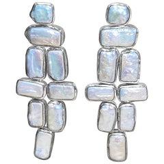 Stephen Dweck Bezel Set Pearl Flexible Earrings