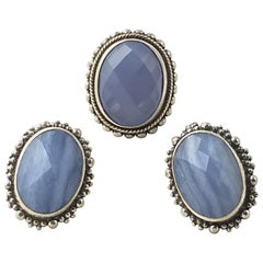 Stephen Dweck Blue Chalcedony Sterling Silver Earrings with Blue Agate Ring Set