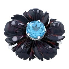 Stephen Dweck Blue Topaz & Carved Mother of Pearl Flower Ring Silver 925