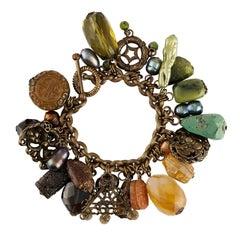 Stephen Dweck Brass Multi-Gem Charm Bracelet