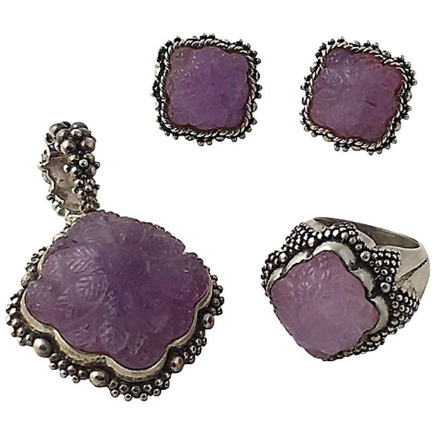 Stephen Dweck Carved Flower Amethyst Sterling Earrings Ring and Pendant