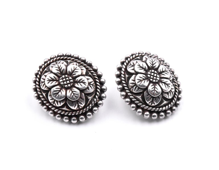 Designer: Stephen Dweck Material: sterling silver  Dimensions: earrings are approximately 27.50mm by 24mm Fastenings: clip-on  Weight: 29.7 grams