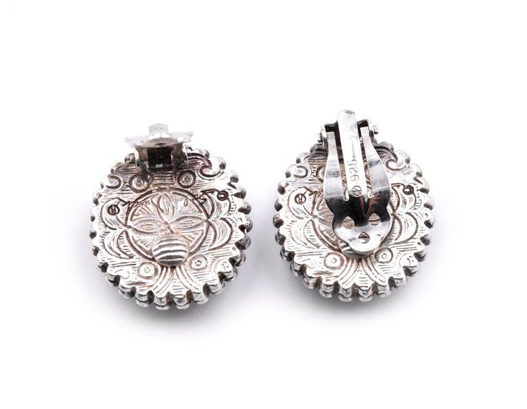 Women's Stephen Dweck Carved Flower Clip-On Earrings For Sale