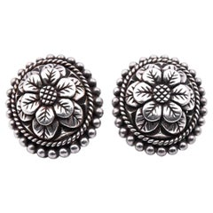 Stephen Dweck Carved Flower Clip-On Earrings