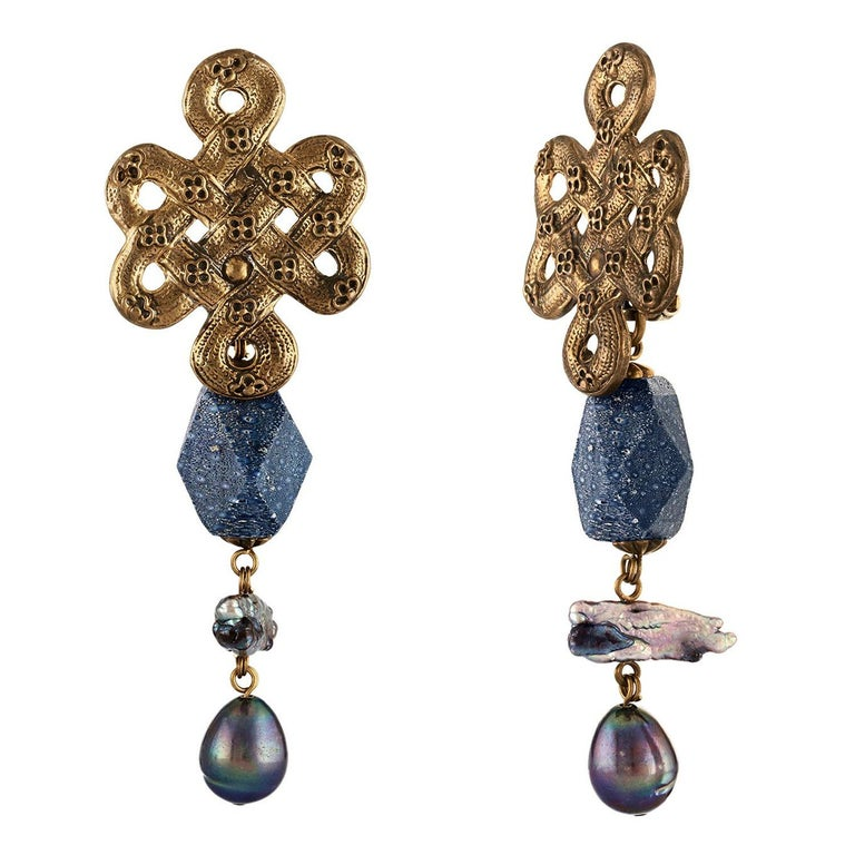 Stephen Dweck Celtic Knot Blue Coral & Pearl Brass Clip-On Earrings For Sale
