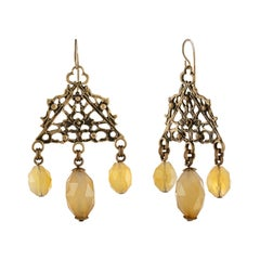 Stephen Dweck Citrine Dangle Brass Earrings