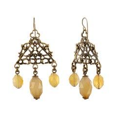 Stephen Dweck Citrine Dangle Brass Earrings