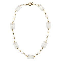 """Stephen Dweck Clear Quartz and White Agate 30"""" Necklace"""