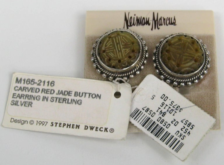 Stephen Dweck Jade & Sterling silver Earrings New, Never worn 1990s In New Condition For Sale In Wallkill, NY