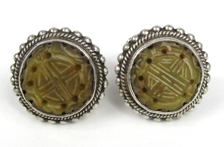 Women's  Stephen Dweck Jade & Sterling silver Earrings New, Never worn 1990s For Sale