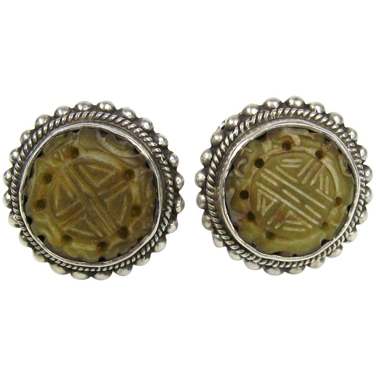 Stephen Dweck Jade & Sterling silver Earrings New, Never worn 1990s For Sale
