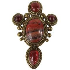 Stephen DWECK Jasper - Carnelian Bronze wash Brooch Pin New, Never worn 1980s