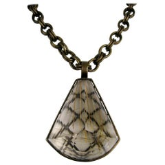 Stephen Dweck Large Caged Rutilated quartz Stone Bronze Necklace, 1990s