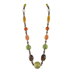 Stephen Dweck Long Carnelian and Agate Brass Necklace