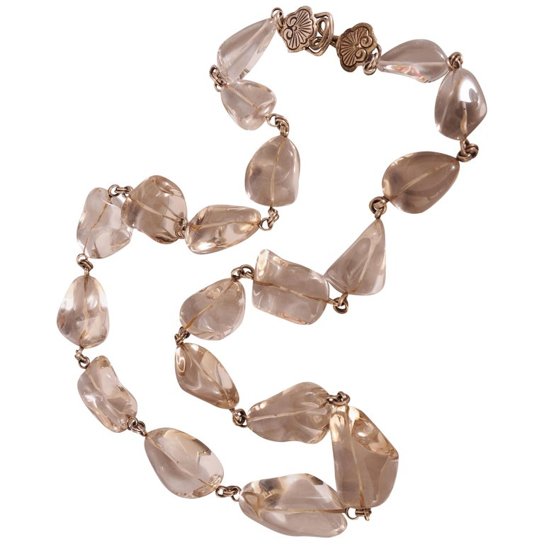 Stephen Dweck Long Rock Crystal and Silver Necklace For Sale