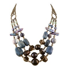 Stephen Dweck Multi-Strand Blue Coral Brass Necklace