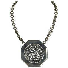 """Stephen Dweck """"OOAK"""" Sterling Silver Disc Necklace 1980s Never worn"""