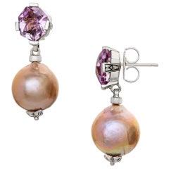 Stephen Dweck Pink Amethyst & Silver Baroque Pearl Drop Earrings