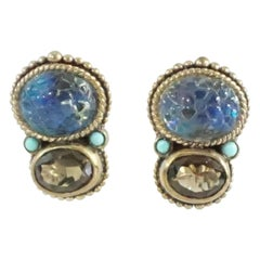 Stephen Dweck smokey and blue carved crystal quartz earrings