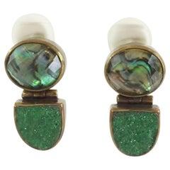 Stephen Dweck Smokey Quartz and Green Garnet  Bronze Earrings