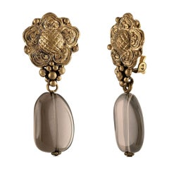 Stephen Dweck Smokey Quartz Floral Clip-On Brass Earrings