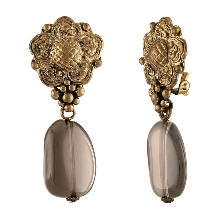 Stephen Dweck Smokey Quartz Floral Clip-On Brass Earrings For Sale