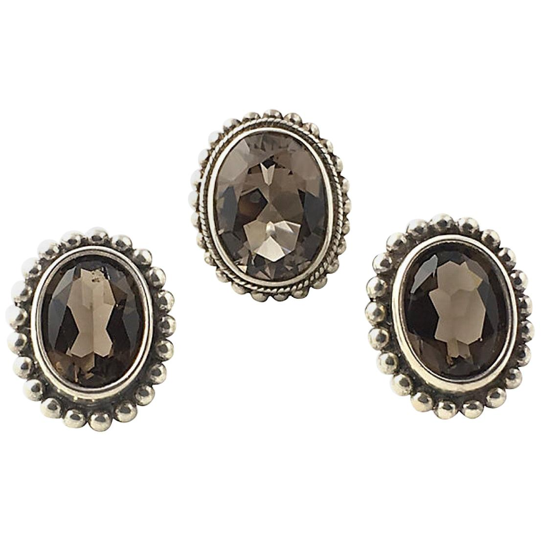 Stephen Dweck Smoky Topaz Sterling Silver Clip-On Earrings and Ring Set