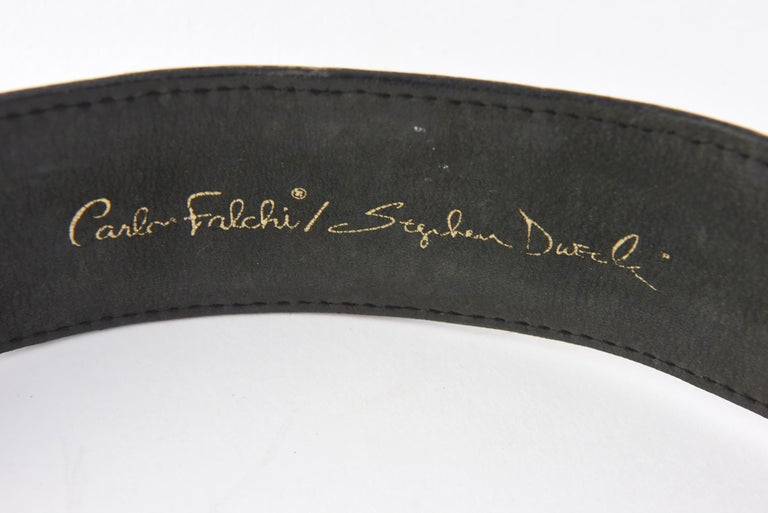 Stephen Dweck Sterling Belt Buckle on Falchi Black Alligator Leather Belt In Good Condition For Sale In Miami Beach, FL