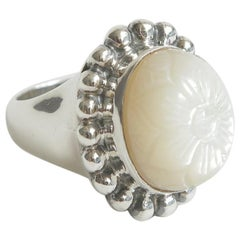 Stephen Dweck Sterling Silver and Mother Of Pearl Ring