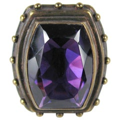 Stephen DWECK Sterling silver Bronze Faceted Amethyst Ring, Never Worn 1990s