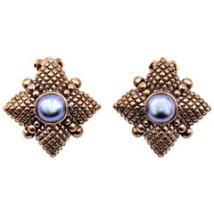 Stephen Dweck Sterling Silver Button Pearl Earrings