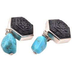 Stephen Dweck Sterling Silver Carved Onyx and Turquoise Dangle Earrings