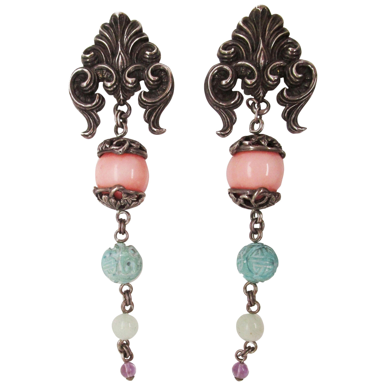 Stephen Dweck Sterling Silver Carved Turquoise Jade Amethyst Dangle Earrings