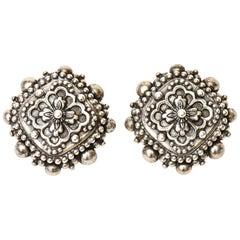 Stephen Dweck Sterling Silver Clip On Earrings Signed Vintage