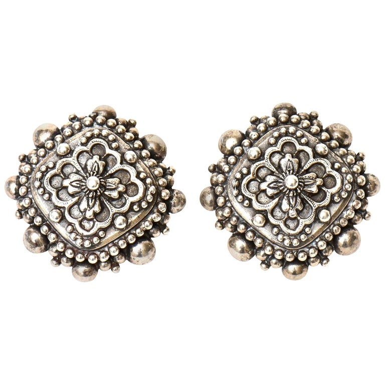 Stephen Dweck Sterling Silver Clip On Earrings Signed Vintage For Sale