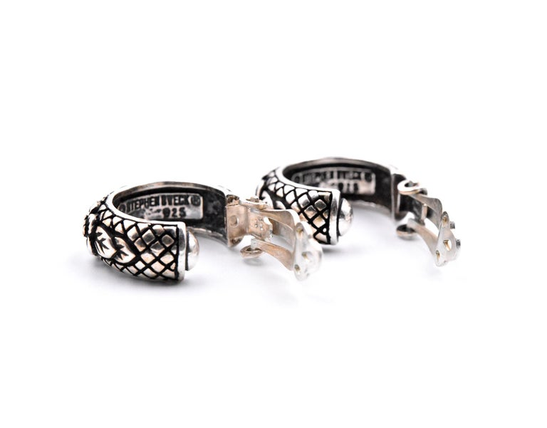 Women's Stephen Dweck Sterling Silver Clip-On Flower Hoop Earrings