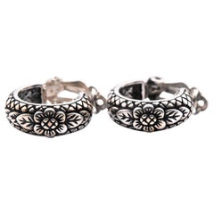 Stephen Dweck Sterling Silver Clip-On Flower Hoop Earrings