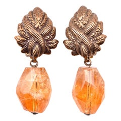 Stephen Dweck Sterling Silver Faceted Citrine Nugget Drop Earrings
