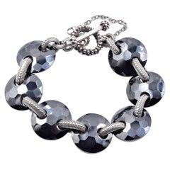 Stephen Dweck Sterling Silver Faceted Hematite Link Bracelet