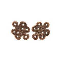 Stephen Dweck Sterling Silver Floral Bronze Earrings